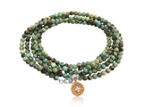 Enjoy the Journey - African Turquoise Wrap Bracelet with Rose Gold