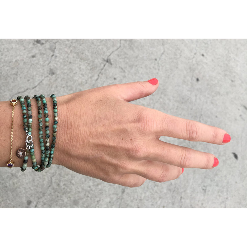 Enjoy the Journey - African Turquoise Wrap Bracelet with Rose Gold (Gold Filled) Compass Charm