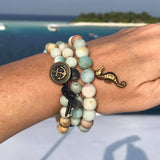 Amazonite Wrap Bracelet with Anchor to Help Keep a Clear Mind and Amazonite Bracelet with a Magical Seahorse Combo