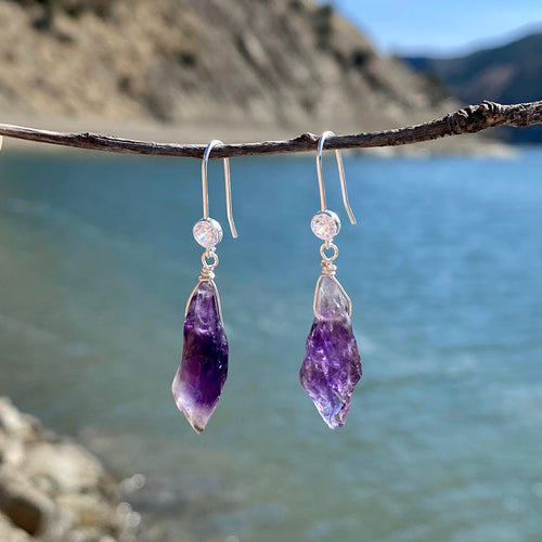 Rustic Amethyst Earrings to Help Reduce Stress, Emotional Stability and Inner Strength