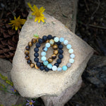 Lava Stone, Amazonite and Tiger Eye Bracelet Trio for Calming Emotions