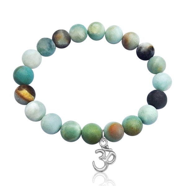 "Amazonite Bracelet to Create a Feeling of Power Within You with a silver tone Ohm Charm. It is almost like you can feel the power of the Amazon running through this crystal.  ""The Mother of all Mantras"". OHM: The four parts symbolize:Awake, Sleeping, Dreaming, and a Trance or Transcendental state."