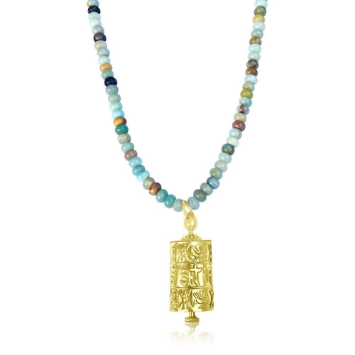 Golden Prayer Wheel on Amazonite Necklace