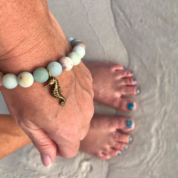 Amazonite Bracelet with a Magical Seahorse Ocean Inspired Jewelry.