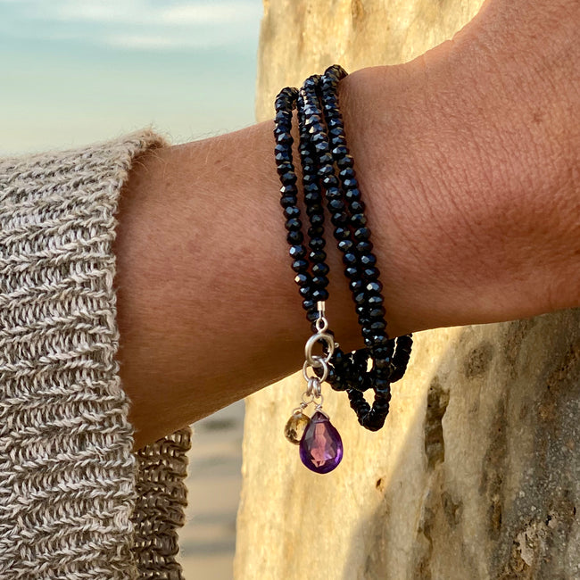Wrap Bracelet for Good Judgement with Amethyst & Citrine