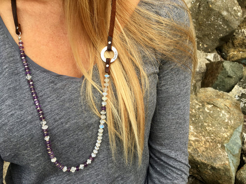 Serenity Amethyst & Moonstone Inhale - Exhale Necklace for New Beginnings