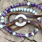 Amethyst & Moonstone Serenity Necklace for New Beginnings with Inhale - Exhale Reminder