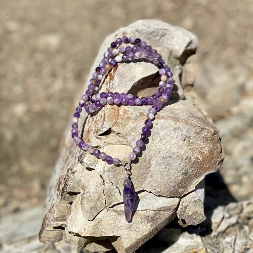 Rustic Amethyst Crystal Necklace to Help Reduce Stress, Emotional Stability and Inner Strength