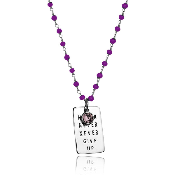 Never Give Up Sterling Silver Inspirational Amethyst Dog Tag Necklace. Amethyst helps cope with stress and provides protection from addiction.