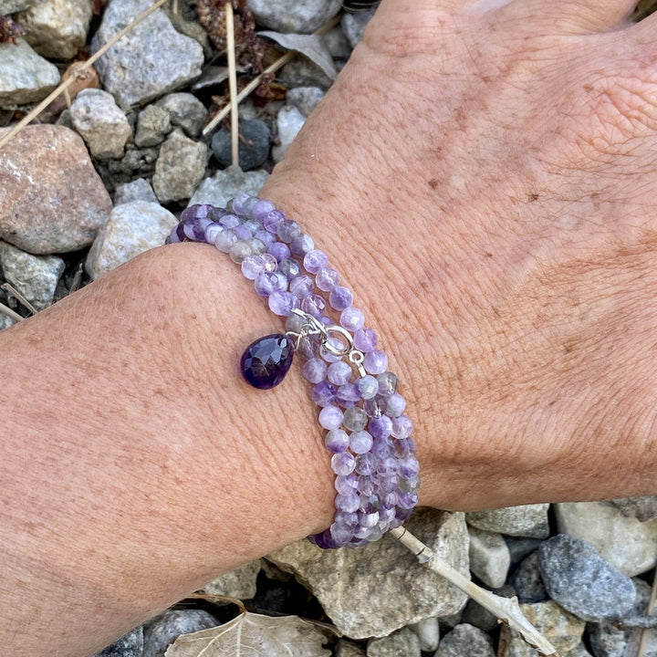 Calming and Stress Relief Amethyst Wrap Bracelet. Amethyst is also a stone of sobriety.