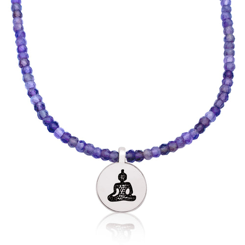 Meditating Yogi Necklace with Amethyst for when you are facing stressful times from Gogh Jewelry Design