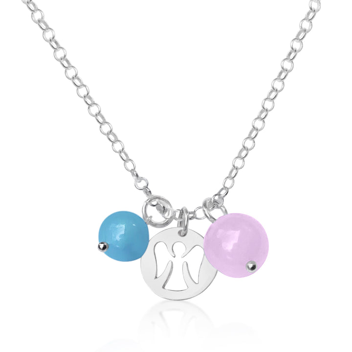 Sterling Silver Guardian Angel Necklace with Rose Quartz and Aquamarine