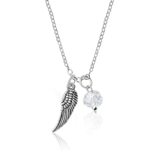 Guardian Angel Wing Necklace with a Clear Crystal Charm
