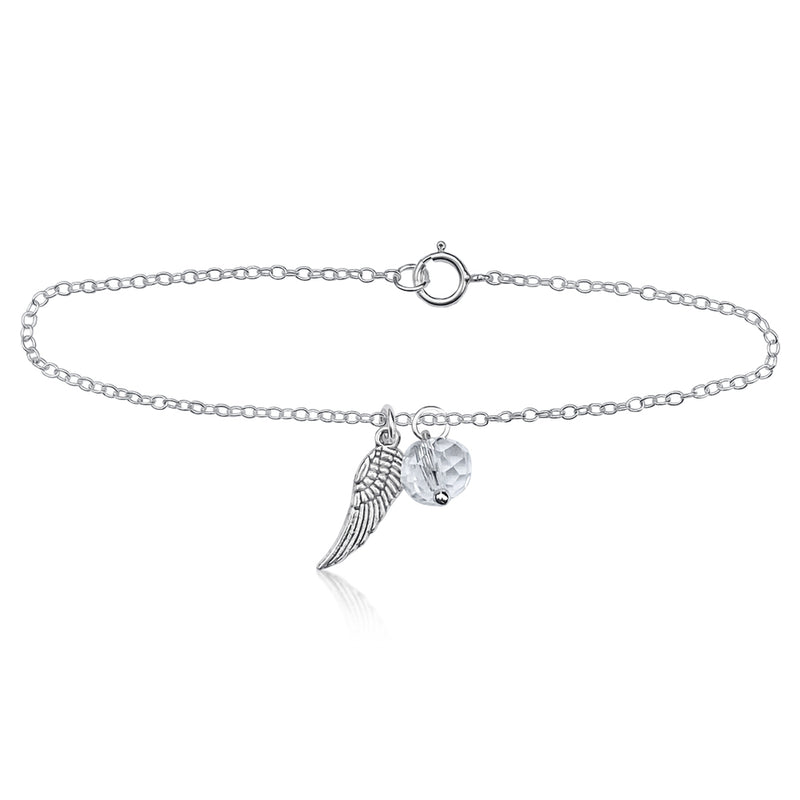 Guardian Angel Wing Bracelet with a Clear Crystal Charm