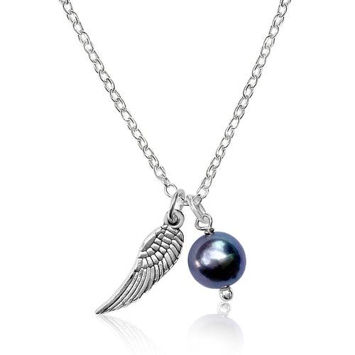 Silver Loving Thoughts Necklace with Angel Wings and Pearl Charms