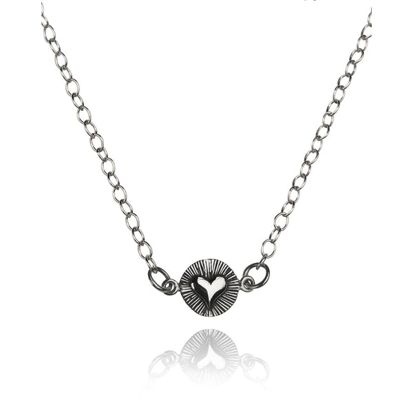 Love You Forever Antiqued Sterling Silver Heart Necklace