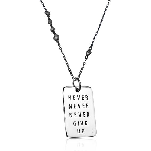 Never Give Up Sterling Silver Inspirational Dog Tag on Antique Looking Black Necklace with Crystals