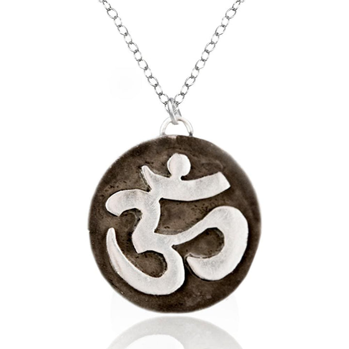 Sterling Silver Yoga Necklace, Silver Meditation Necklace with Sterling Silver Ohm Pendant.