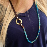 Serenity Statement Jewelry: Apatite, Leather Prayer Breathe Necklace to Fine-Tune Your Attunement with Humanity. Brings good vibes for confident young women; it is also excellently suited to underlining the individuality of the more mature woman. Sophisticated, inspirational and yoga accessory. Mindfulness reminder to Inhale and Exhale.