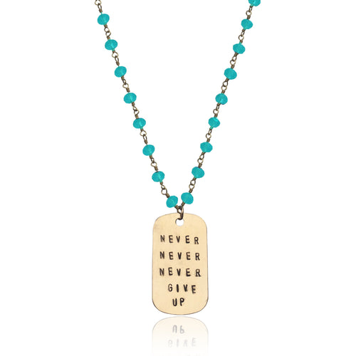 Inspirational Gold Filled Never Give Up Dog Tag on Gold Filled Wire Wrapped Aquamarine Necklace