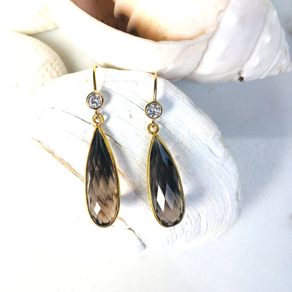 Smoky Quartz Crystal Gold Earrings to Remove Negativity