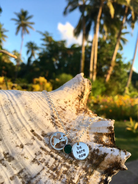 "Be present wherever you are in your life and in the world. Enjoy every moment of your journey! As they say… ""There is no way to happiness. Happiness is the way.""   This gorgeous necklace features one Sterling Silver Globe Charm and one ""BE HERE NOW"" Motivational Charm  to help you get off the couch and live your own adventures."
