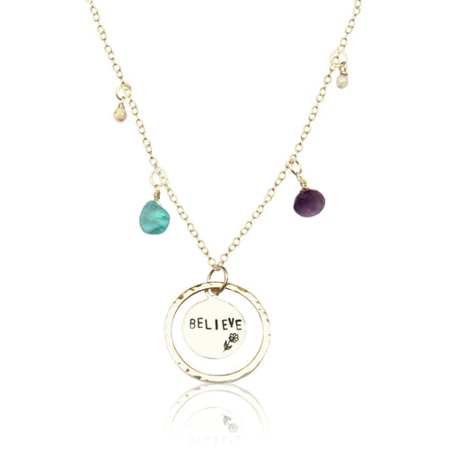 Sterling Silver Believe Necklace with Amethyst, Aquamarine Quartz and Silver Charms.  Stay Positive and Make a Wish! Believe that it Can Happen! It Can Happen and It Will.