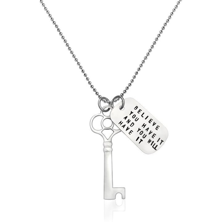 Key to Success Inspirational Sterling Silver Dog Tag Necklace Key