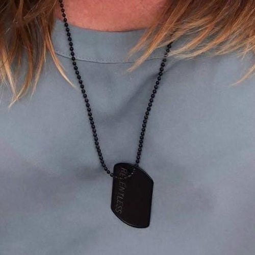Relentless Black Stainless Steel Dog Tag Necklace