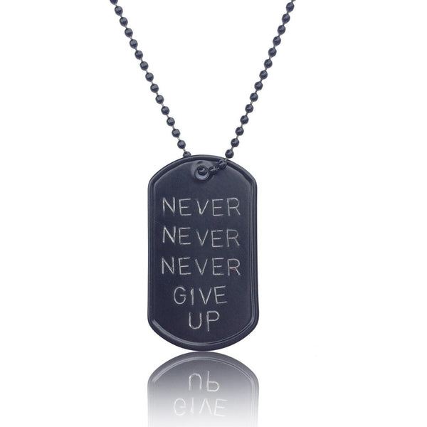 Black Stainless Steel Never Give Up Inspirational Dog Tag Necklace. Military, Army, Navy, Air Force, Marine Style.