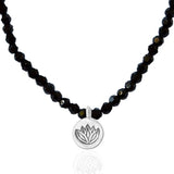 Midnight Dark Black Crystal Necklace with Sterling Silver Lotus Flower Pendant.