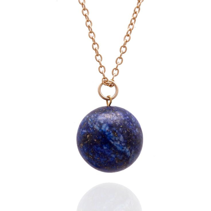 Blue Marble Ocean Blue Gratitude Gold Necklace