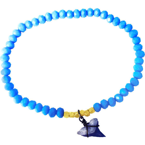 Shark Lovers' Bracelet with Shark Tooth Charm on Baby Blue Crystal
