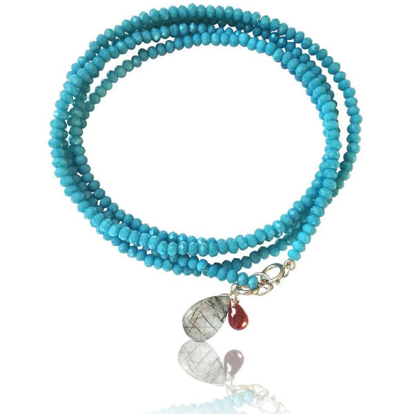 Teal Blue Crystal Wrap Bracelet for Open Communication with Rutilated Quartz and Garnet Charms
