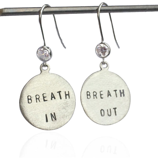 Sterling Silver Breath In - Breath Out Earrings with Crystal - inspired by my scuba diving, yoga and being a mom.