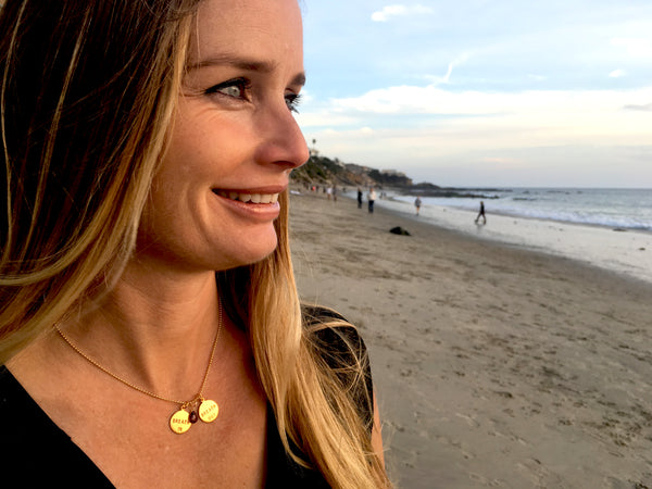Gold Filled Breath In - Breath Out Pendants on a gold filled bead chain style necklace - inspired by my scuba diving, yoga and being a mom