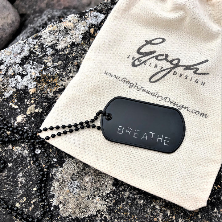 BREATHE - Black Stainless Steel Dog Tag Necklace