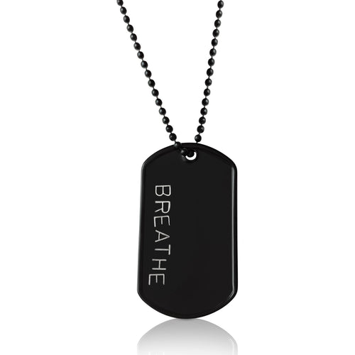 BREATHE - Black Stainless Steel Dog Tag Necklace. Yoga Inspired Military, Army, Navy Style Unisex Mindfulness Accessory