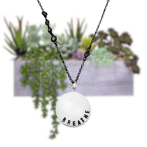 Sterling Silver BREATHE Pendant on an Antiqued Black Sparkly Necklace