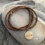 Yoga inspired BREATHE Wrap Bracelet with Bronze Crystals and Gold Filled BREATHE Charm