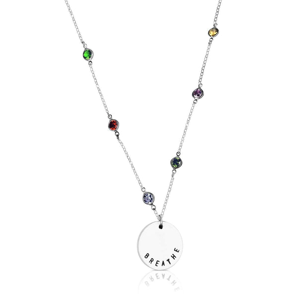 BREATHE Sprinkle Yoga Inspired Necklace with Rainbow Color Crystals for Chakra Healing
