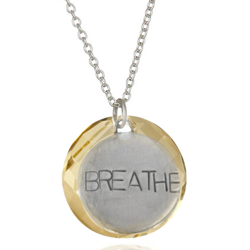 Sterling Silver BREATHE Pendant with Golden Shadow Swarovski Twist Crystal Pendant. Inspired by my scuba diving, yoga and being a mom.