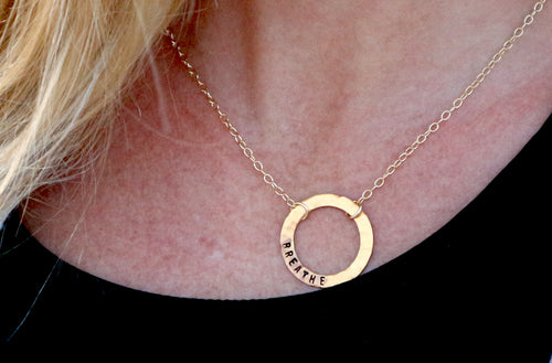 BREATHE Gold Filled Infinity Circle Necklace.