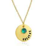 Hand stamped gold filled BREATHE necklace is made for yogis, scuba divers and mothers.