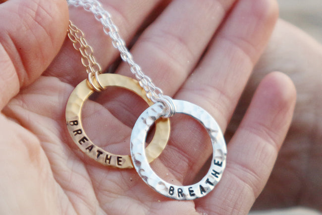 BREATHE Sterling Silver Infinity Circle Necklace