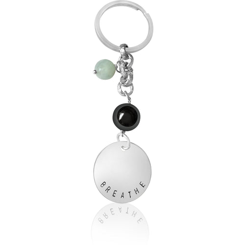 Yoga Inspired BREATHE Keychain with Hematite and Aquamarine
