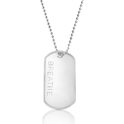 BREATHE - Stainless Steel Dog Tag Necklace. Yoga Inspired Military, Army, Navy, Air Force, Marine Style Unisex Mindfulness Accessory