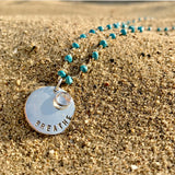 Sterling Silver BREATHE Pendant on Turquoise Necklace for Exhaustion