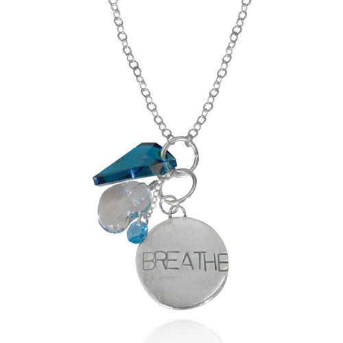 Sterling Silver BREATHE Necklace with Blue and Clear Crystals. Inspired by my scuba diving, yoga and being a mom.