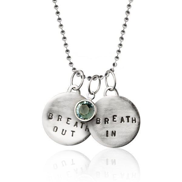 Sterling silver Breath In - Breath Out Pendants on a sterling silver bead chain style necklace - inspired by my scuba diving, yoga and being a mom.
